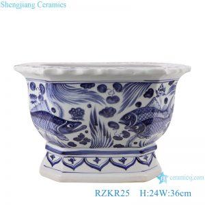 RZKR25 Herbaceous flower pot with hexagonal algal pattern