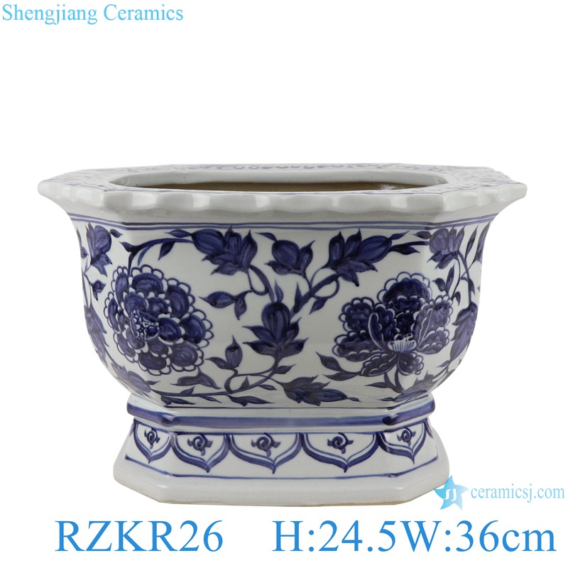 RZKR26 Home Garden Planter Blue and white twinning flower pattern Square shape Porcelain Plant Pot