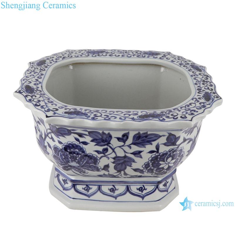 RZKR26 Home Garden Planter Blue and white twinning flower pattern Square shape Porcelain Flower Plant Pot