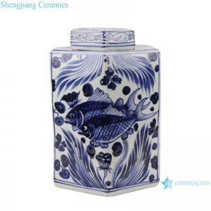 RZKR27 Home storage jars Blue and white porcelain antique polygon twinning flower Fish bubbles storage pot Tea Canister