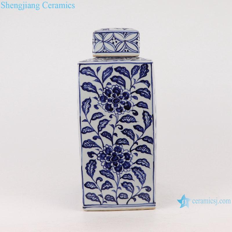 RZKR28 Antique Blue and white porcelain square twinning lotus flower Fish bubbles home storage jars pot Tea Canister