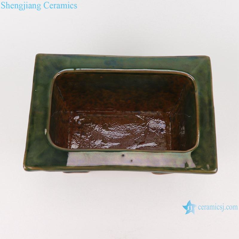 RZKR29 Antique Color Green Glazed rectangle shape ceramic flower pot planter Incense Burner Censer And DING
