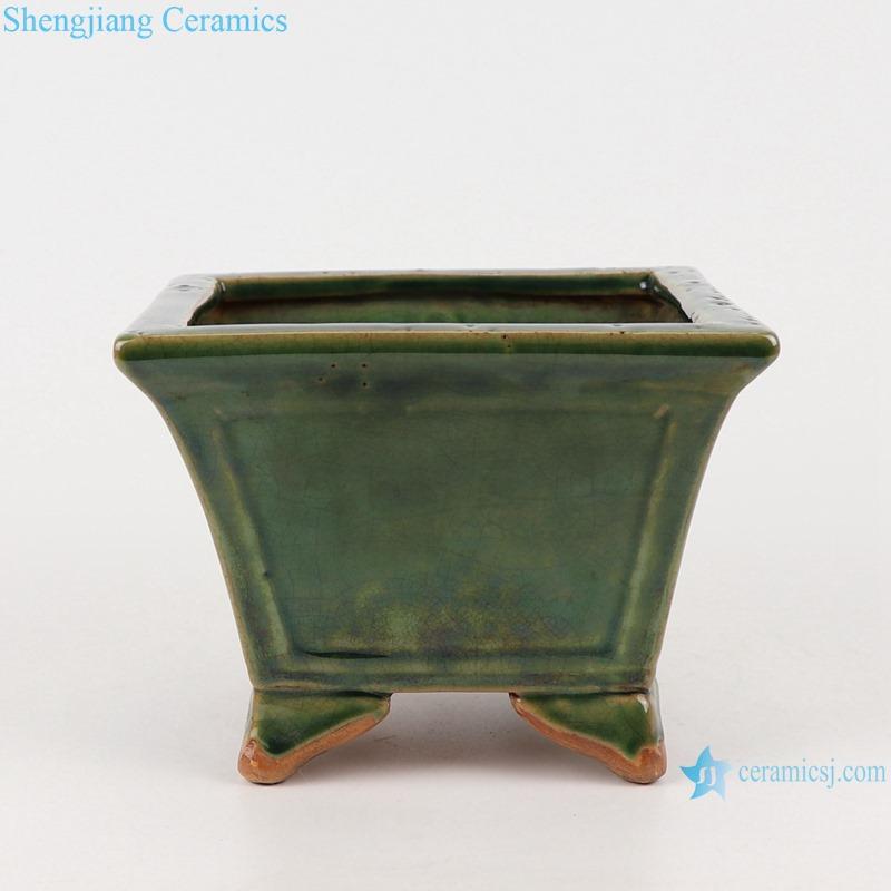 RZKR30 Ceramic Garden Planter Square shape color green kiln incense burner tower decoration