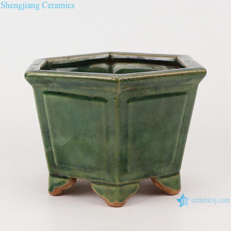 RZKR31 Jingdezhen hexagon shape Color green glazed flower pot garden planter Temple incense burner tower