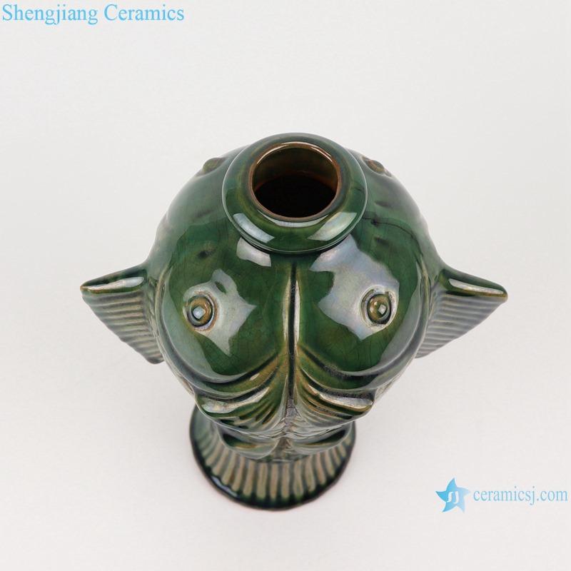 RZKR32 Antique Color Green Glazed Fish shape Porcelain vase for home decoration Ceramic