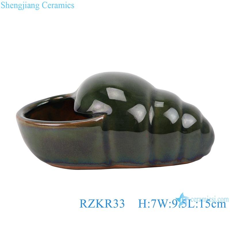 RZKR33 Green Glazed Conch shape Ceramic Cactus Plant Pot Flesh plant Container Planter