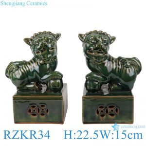 RZKR34 Antique deep green glazed a pair pug dog Ceramic poodle foo dog home decoration furnishing articles