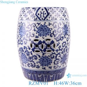 RZMV01 Blue&white entwined branch lotus copper money hole design stool