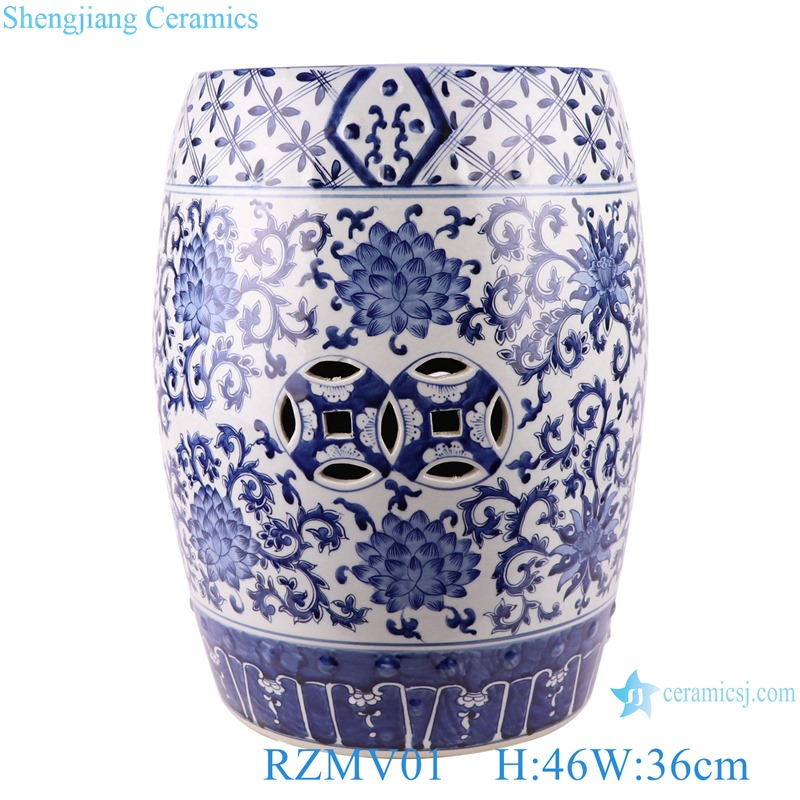 Blue&white entwined branch lotus copper money hole design stool
