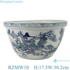RZMW10 Blue and white landscape pattern bowl & flowerpot