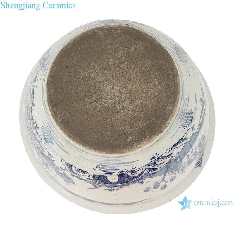 Blue and white landscape pattern bowl & flowerpot