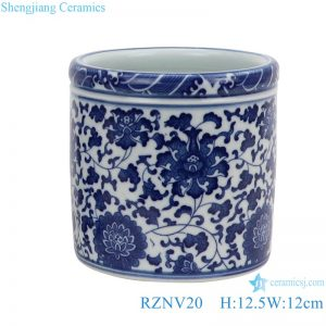 RZNV20 Jingdezhen Anitque blue and white Twinning leaf flower pattern ceramic Small Jars candy snack pot table storage