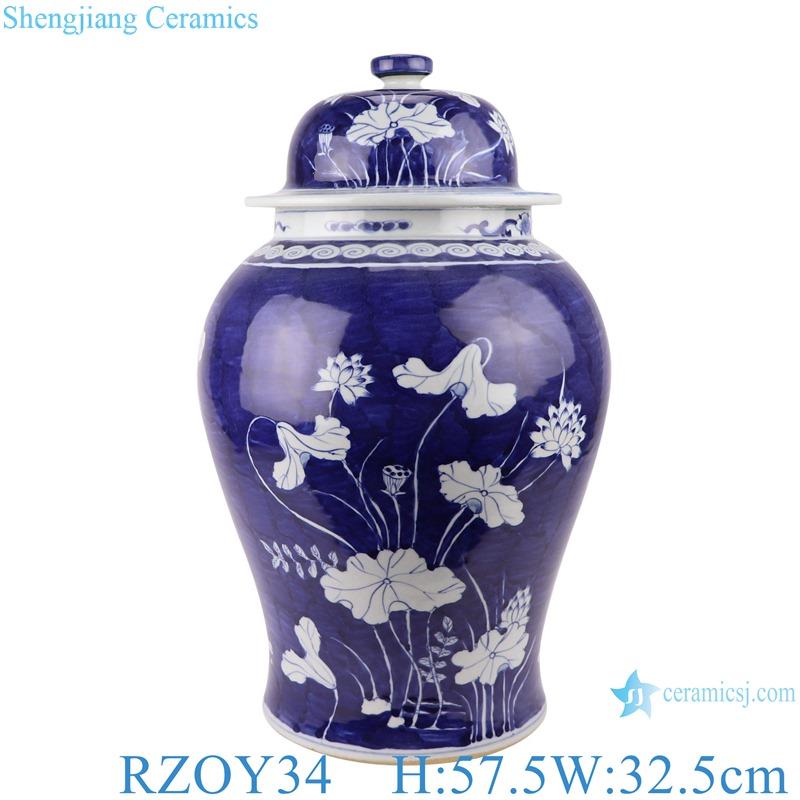 Blue and white ice plum lotus design general pots