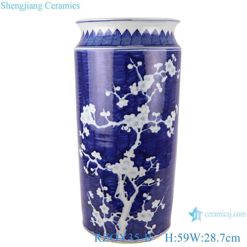 RZOY35-B Chinese style white plum blossom hand paint porcelain rain umbrella stand