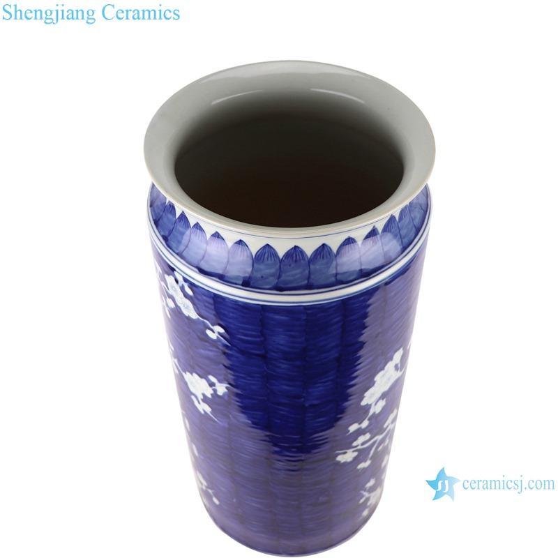 RZOY35-B Chinese style dark blue glazed white plum blossom hand paint porcelain rain umbrella stand holder