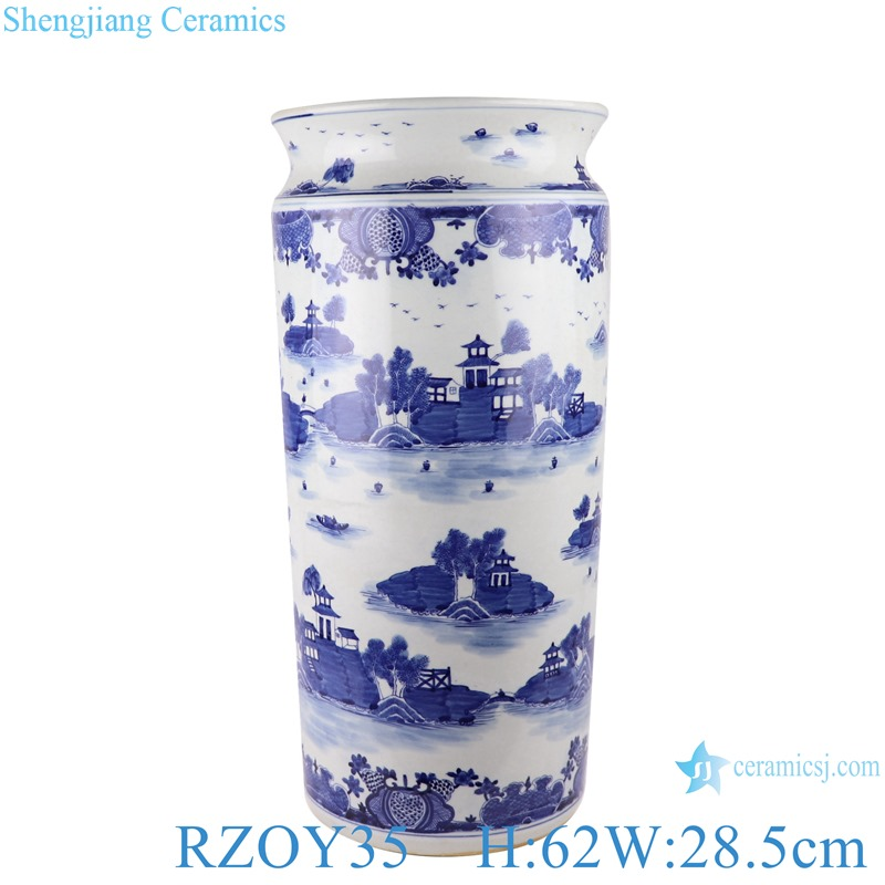 Blue and white wutong landscape pattern umbrella stand straight cylinder
