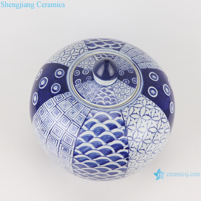 RZOY36-A Antique Blue and white porcelain Geometric flower pattern storage pot ginger jars storage box tea canister