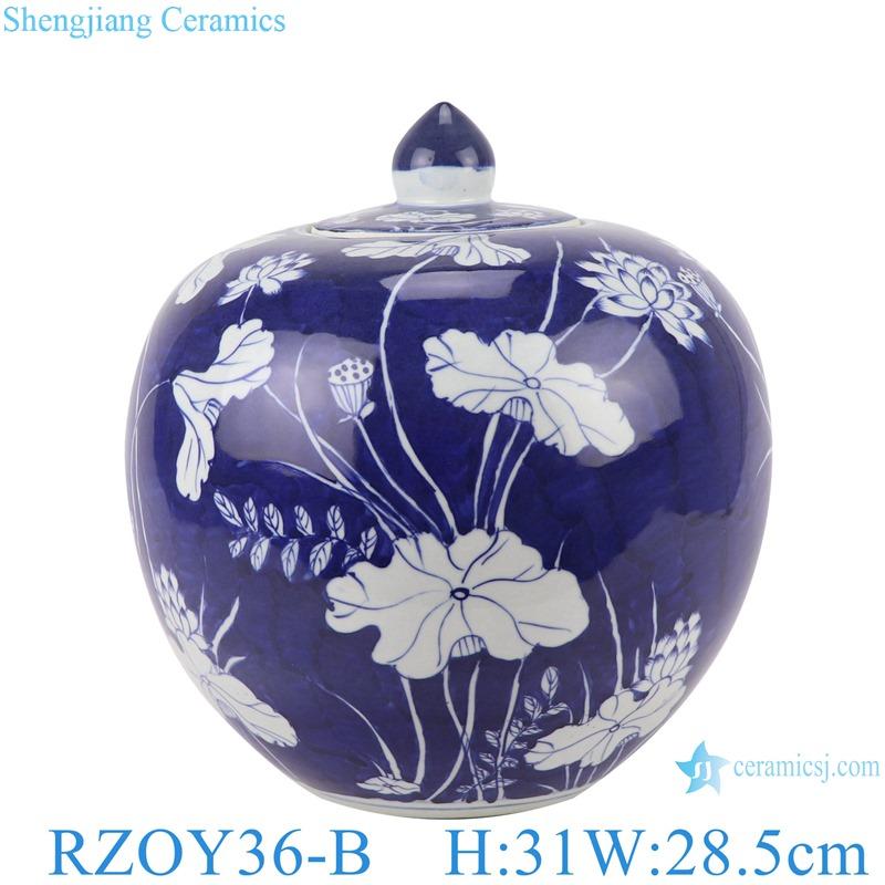 RZOY36-B Blue and white porcelain lotus pattern storage pots