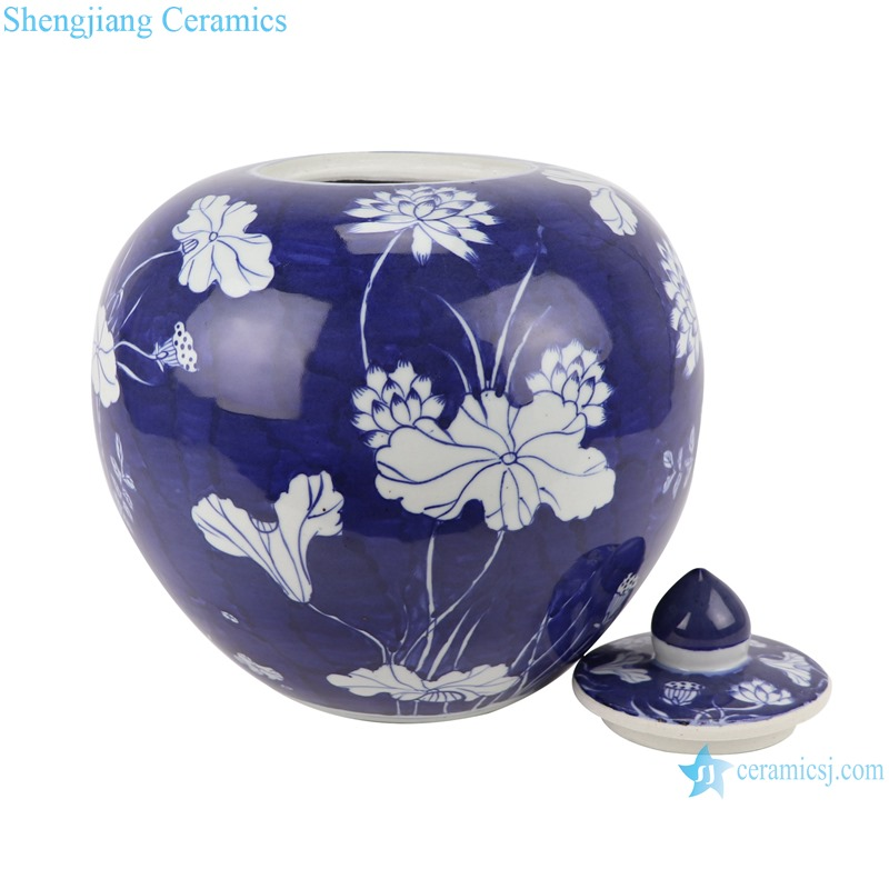 RZOY36-B Home furnishing Blue and white porcelain lotus pattern storage pots Tea canister storage box