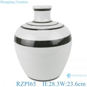 RZPI65 White and black coil pattern decoration vase jars
