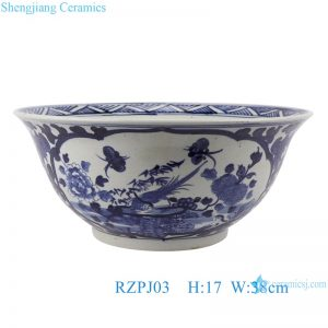 RZPJ03 Blue and white flower and bird design porcelain bowl
