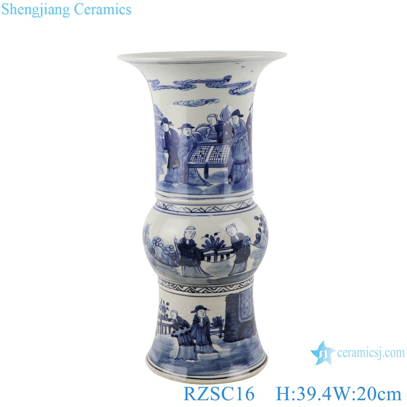 RZSC16 Traditional Figure playing the chess blue and white porcelain decorative Vase