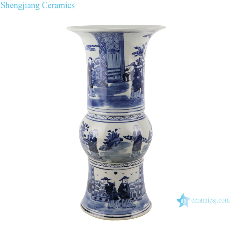 RZSC16 Chinese Traditional Figure playing the chess blue and white porcelain decorative Vase for TV Cabinet