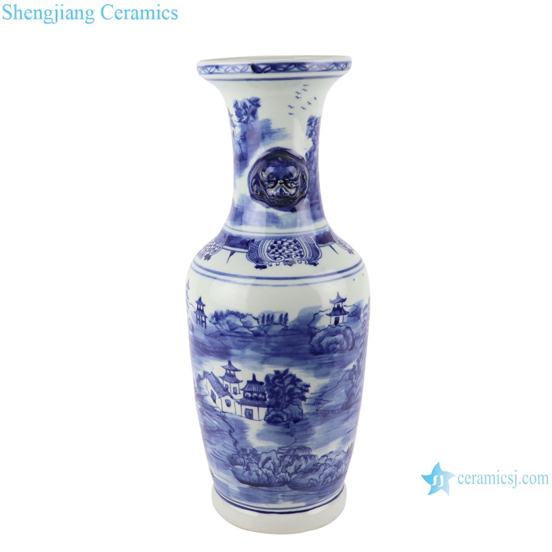 RZSC17 Vintage Antique blue and white porcelain Landscape House floor vase