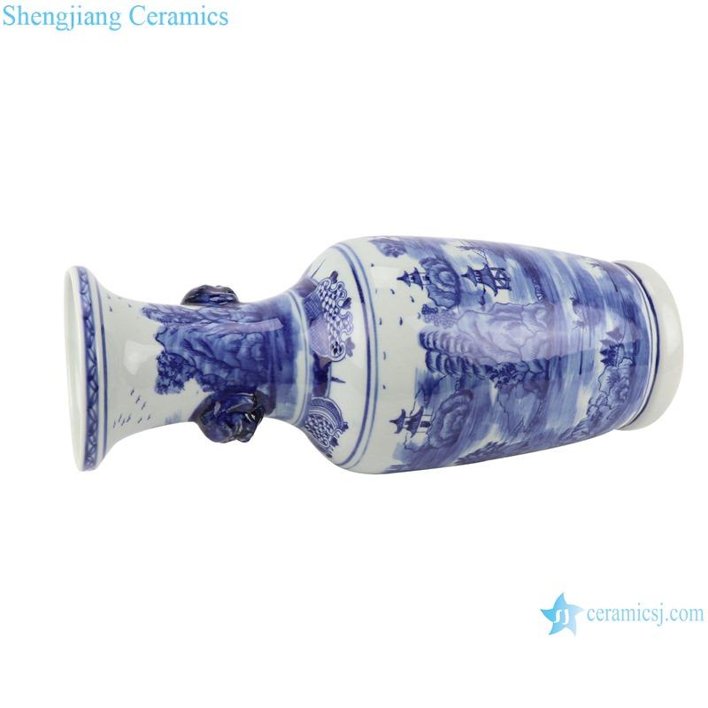 RZSC17 Vintage Jingdezhen Antique blue and white porcelain Landscape House River With two lion head Large floor vase
