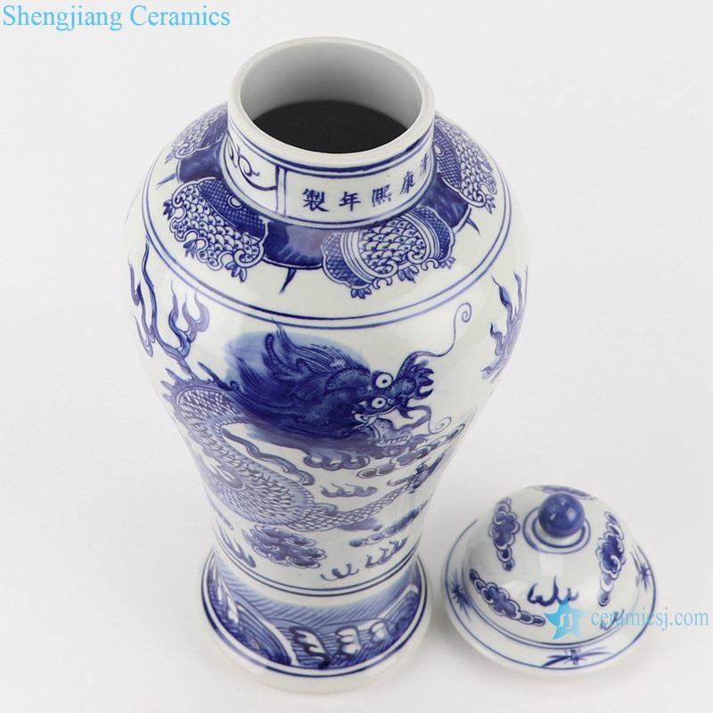 RZSC18-A-B Antique Blue and white porcelain Bird and Dragon flower design Storage Ginger Jars
