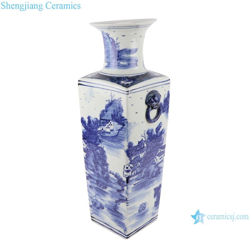 RZSC19 Blue and White porcelain Ancient Kangxi Dynasty landscape pattern Square shape Ceramic Vase