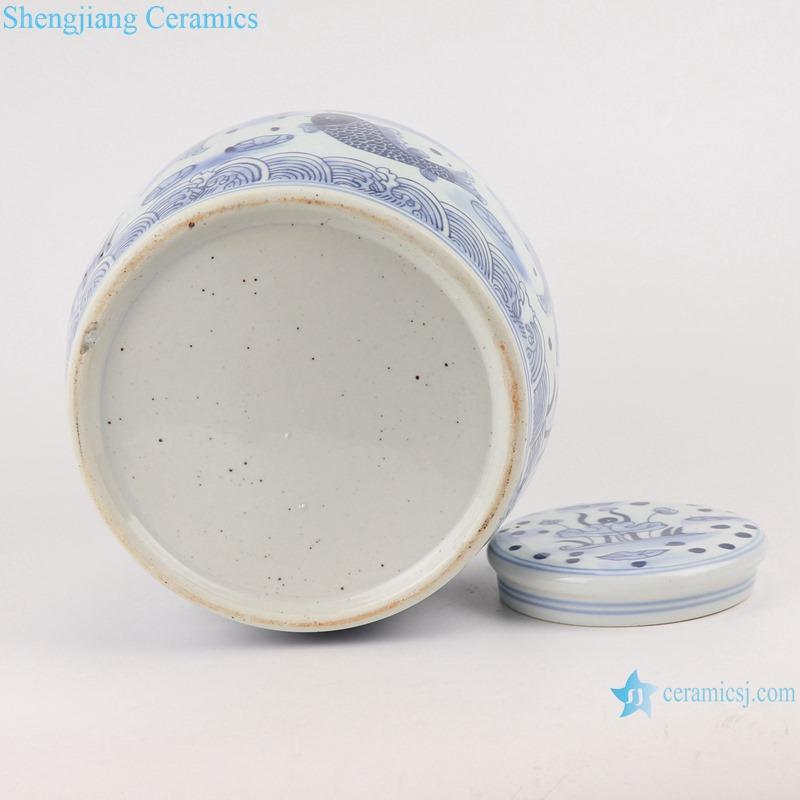RZSI10-C Home storage box Blue and white porcelain lotus fish swim pattern storage pots Tea canister jars
