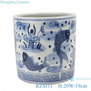 RZSI11 Blue and white fish and lotus pen holder small pot