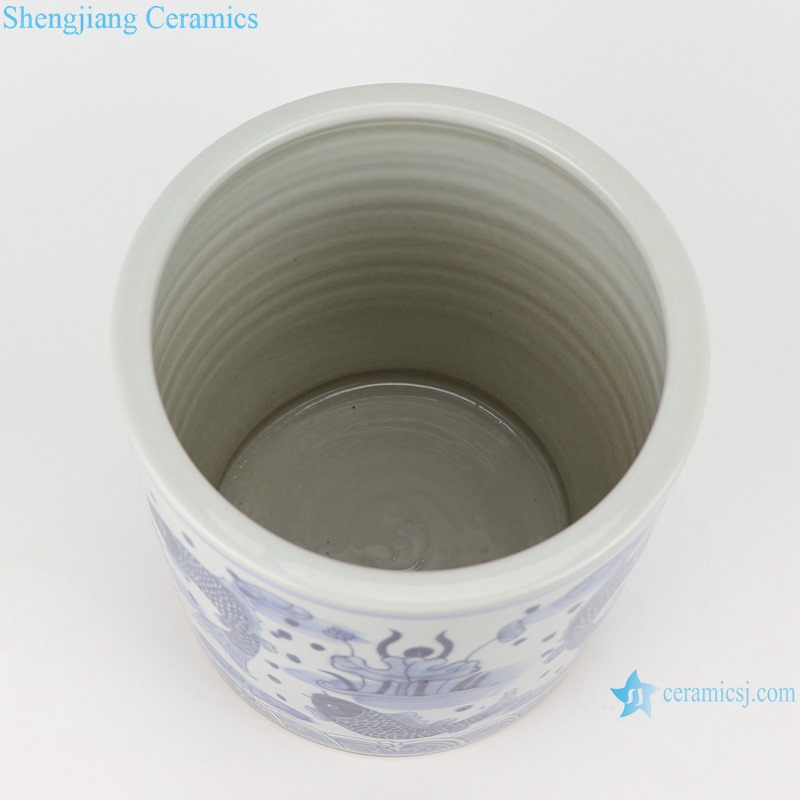 Blue and white fish and lotus pen holder small pot