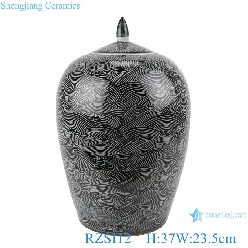 Black wave pattern wax gourd tank