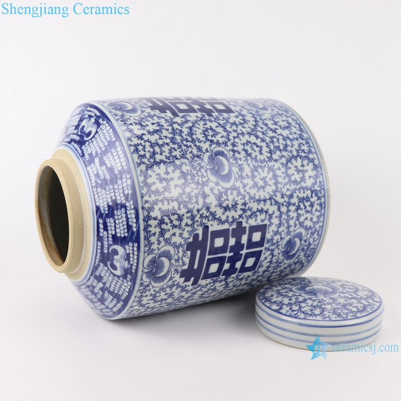 RZSI14 Blue and white Porcelain The character for happiness Winding Flower Straight Storage container Tea Canister Pot