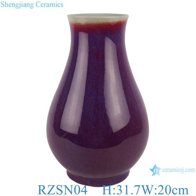 Lang red glazed kiln glaze blue fu bucket vase