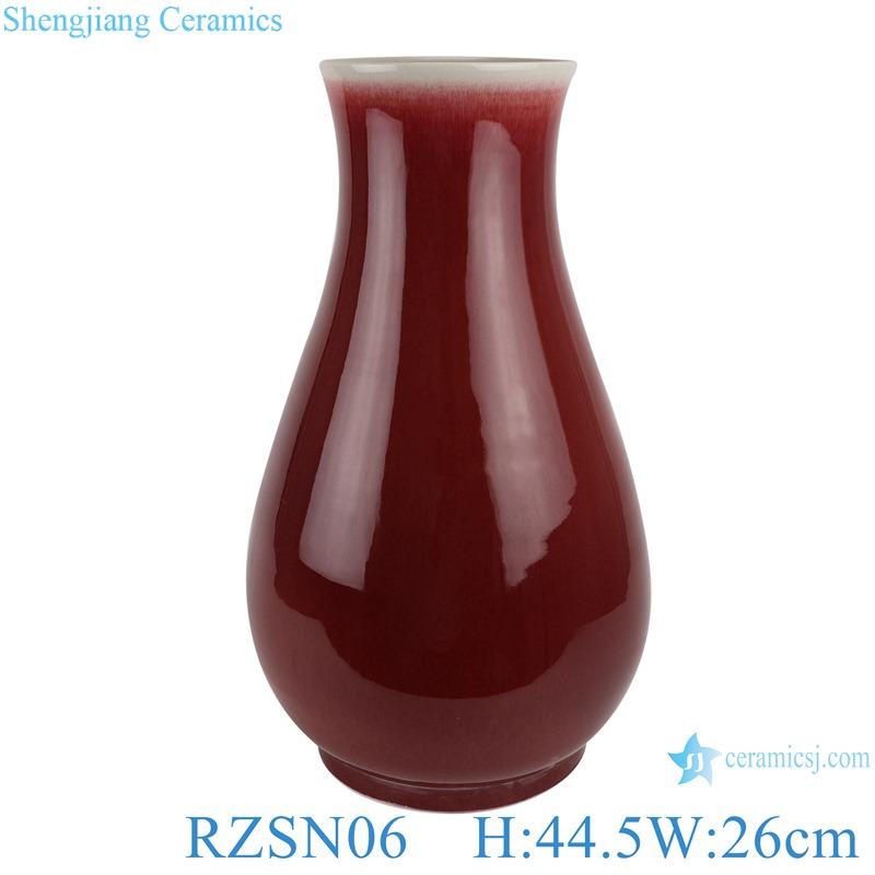 Lang Red glazed fu bucket ceramic vases