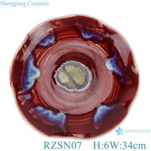 RZSN07 Lang red glaze kiln variable glaze blue shaped lotus leaf porcelain plate