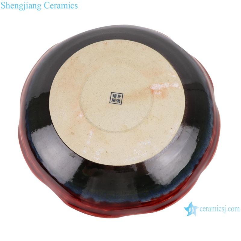 Lang red glaze kiln variable glaze blue shaped lotus leaf porcelain plate