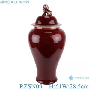 RZSN09 Ginger jar with lion head lid and lang red glaze