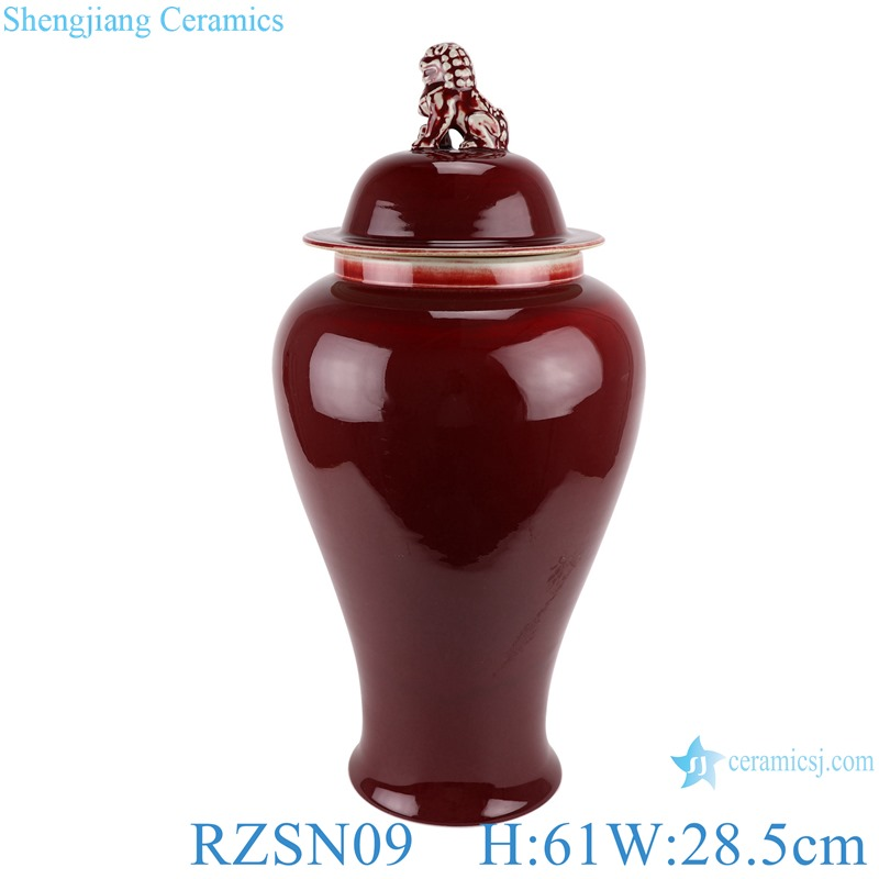 Ginger jar with lion head lid and lang red glaze