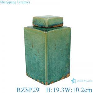RZSP29 Handmade Color glaze kiln variable glaze green square porcelain pot with lid