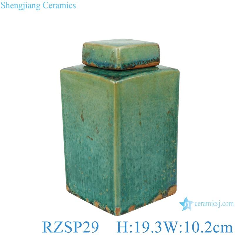 Handmade Color glaze kiln variable glaze green square porcelain pot with lid