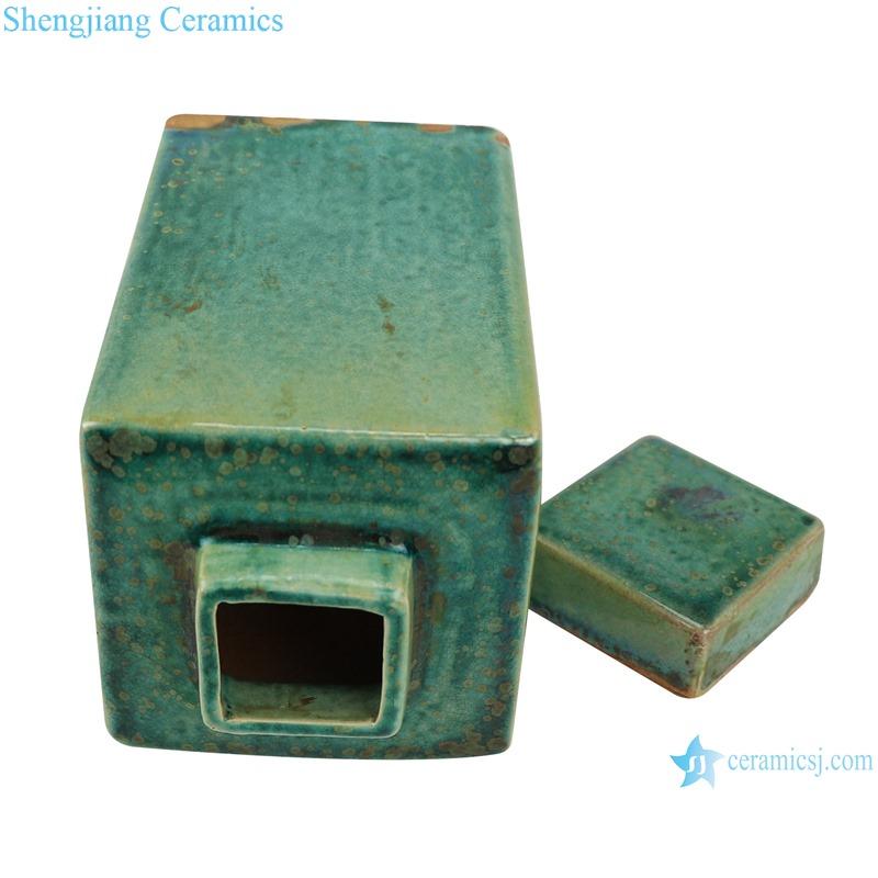 Color glaze kiln variable glaze green square porcelain pot with lid