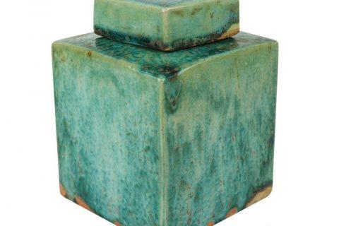 RZSP30 Handmade Color glaze kiln variable glaze green square porcelain pot decoration