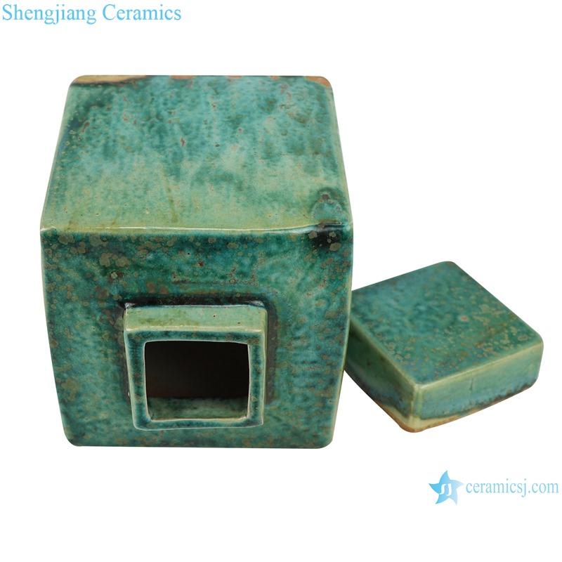 Color glaze kiln variable glaze green square porcelain pot decoration
