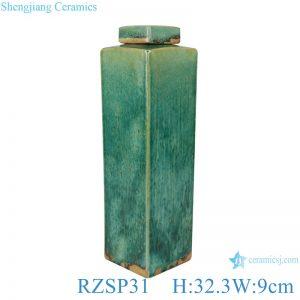 RZSP31Handmade Color glaze kiln variable glaze green square porcelain pots