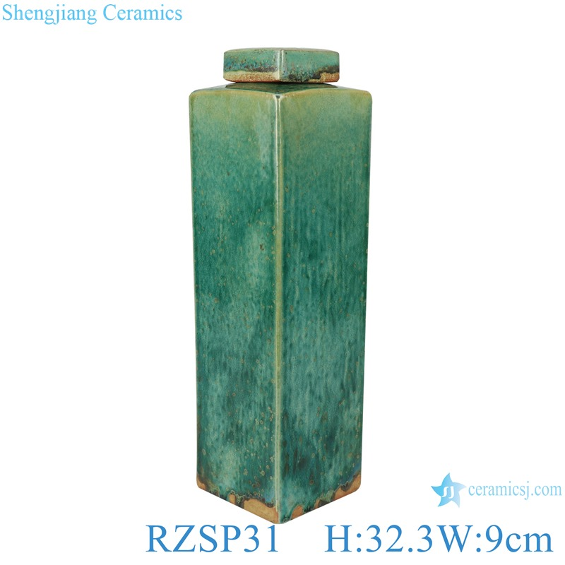 Handmade Color glaze kiln variable glaze green square porcelain pots