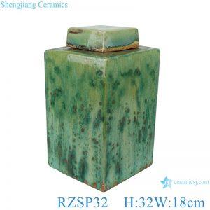 RZSP32 Color glaze kiln variable glaze green square porcelain pot